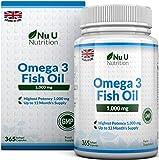 Omega 3 Olio di Pesce da 1000 mg | 365 Capsule Softgel (Fornitura Per 1 Anno) | Integratori alimentari Nu U Nutrition