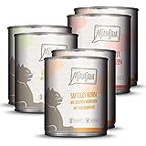 MjAMjAM Mangime Umido per Gatti, Mix Pack i 2 Pollo, 2 Bovino, 2 Cuore, senza Cereali - Pacco da 6 x 800 g