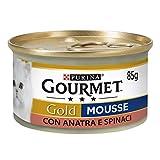 Purina Gourmet Gold Umido Gatto Mousse con Anatra e Un Tocco di Spinaci, 24 Lattine da 85 g Ciascuna, Confezione da 24 x 85 g