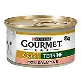 Purina Gourmet Gold Umido Gatto Patè con Salmone, 24 Lattine da 85 g Ciascuna, Confezione da 24 x 85 g