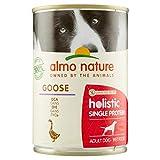 almo nature Holistic Single Protein Ricetta Senza Cereali all' Oca -Cibo Umido per Cani Adulti - Pacco da 24 x 400 g
