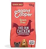 Edgard & Cooper Cibo Secco per Cani Senior Crocchette con Carne Fresca di Pollo e Salmone Senza Cereali 12kg in Confezione Biodegradabile, Alimentazione Naturale per Cani di Taglia Grande