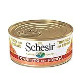 Schesir, Cibo Umido per Gatti Adulti al Gusto Tonnetto con Papaya Preparato in Morbida Gelatina con Veri Pezzi di Frutta - Totale 1,8Kg (24 Lattine da 75G)