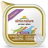 Set 32 ALMO NATURE Cane 220 Vaschetta 100 Agnello Menu Daily Alimento Per Cani