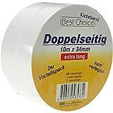 Best choice 48573 nastro adesivo, 10 m x 24 mm bianco 2 filtri su entrambi i lati