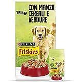Purina Friskies Crocchette Cane Adulto con Manzo, Cereali e Verdure Aggiunte, un Sacco da 15 kg, Confezione da 15 kg