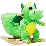 Deuba Dinosauro di Peluche a Dondolo con Cintura di Sicurezza Morbido per Equilibrio Giocattolo con Suoni per Bambini