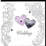 Koko Designs KK26 - Biglietto di auguri per matrimonio con rilievo, pellicola e cristalli