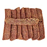 AVANZONA Snack per Cani, Spuntino di Strisce di Agnello, Carne di Agnello al 100% Che favorisce la digestione. nutrizionali e da Masticare per Cani di Piccola, Media e Grande Taglia. 100 G.