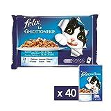 Purina Felix le Ghiottonerie Umido Gatto con Salmone e con Tonno, 40 Buste da 100 g Ciascuna, 10 Confezioni da 4 x 100 g