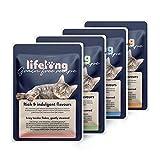Marchio Amazon - Cibo umido per tutta la vita senza cereali per gatti adulti - selezione di anatra, pollo, tacchino e manzo in gelatina, 2,4 kg (28 sacchetti x 85 g)