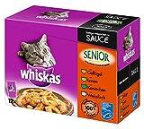 Whiskas Senior Gatto Cibo Pesce e Carne Selezione in Salsa, 48Sacchetto (4X 12X 100G)