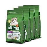Ultima Cibo per Gatti Sterilizzati con Controllo delle Palline di Pelo con Tacchino - Confezione da 4 x 1,5 kg - Totale: 6 kg