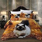 MENGBB Set Copripiumino Stampa 3D Carino animale gatto - 220x240cm Totale 4 Dimensioni con 2 Federa, Copripiumino e federa, camera da letto tre pezzi lenzuola bedding, prevenire l' umidità, anallergic