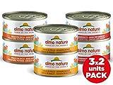 almo nature Multi Pack -Gusti Pollo Assortiti (2 x Coscia di Pollo; 2 x Pollo e Gamberetti, 2X Pollo e Zucca) Cibo Umido per Gatti Adulti 100% Naturale. Confezione da 6 lattine x 70g