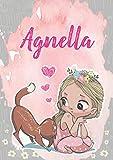Agnella: Taccuino A5   Nome personalizzato Agnella   Regalo di compleanno per moglie, figlia, sorella, mamma   Design: gatto   120 pagine a righe, piccolo formato A5 (14.8 x 21 cm)