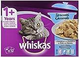 Whiskas Straccetti Casserole in Gelatina Selezione Pesce, 1+ Anni, 12 x 85 g, Cibo per Gatto, 4 Confezioni (48 Bustine in Totale)