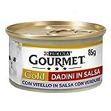 Gourmet Purina Gold Umido Gatto Dadini in Salsa con Vitello in Salsa con Verdure - 24 Lattine da 85 g Ciascuna (Confezione da 24 x 85 g)