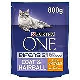Purina One Coat And Hairball - Cibo per gatti secco per adulti, ricco di pollo e cereali integrali, 800 g (confezione da 4)