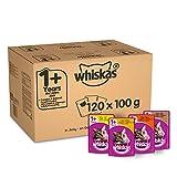 Whiskas 1+ Cibo umido per gatti per gatti adulti, 120 buste (120 x 100 g)