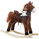 Deuba Cavallo di Peluche a Dondolo Animale cavalcabile con Manici in Legno con Suoni Giocattolo Equilibrio Bambini